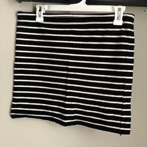 Black and white striped cotton miniskirt
